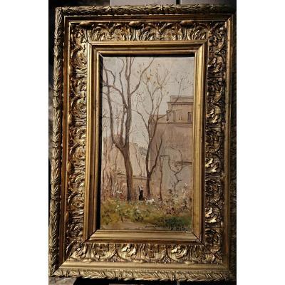 Robert MOLS  ( 1848 1903 ) Belge , Le Jardin de sa maison