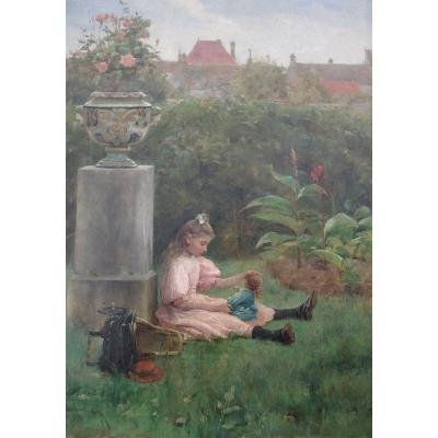 Félix G. Berne-bellecour (? _ 1905) Little Girl Playing With Her Doll In The Garden