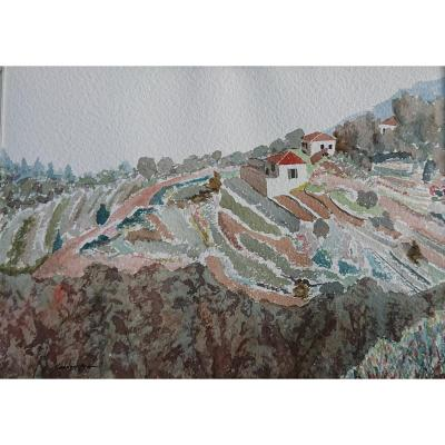 Mohammad Kaddoura (1941) Landscape Of Lebanon, Watercolor 1975; Lebanese Painter