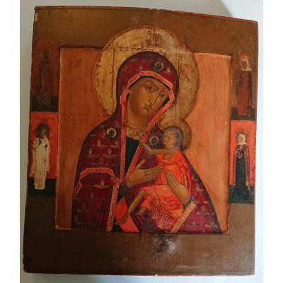 Icône Russe De La Vierge De Tendresse Fin 18e Siècle Début 19eme