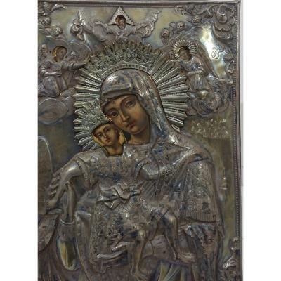 Belle Icone Vierge à L Enfant Eleousa type de Kykkos oklad argent russe