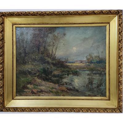 Emile Noirot (1853-1924) Landscape Near Roanne Dated On The Reverse 1909