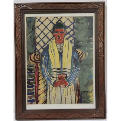 Ferenc Bolmányi,  (1904-1990) Jeune Homme à l écharpe jaune ,  Peintre Hongrois  Daté 1950
