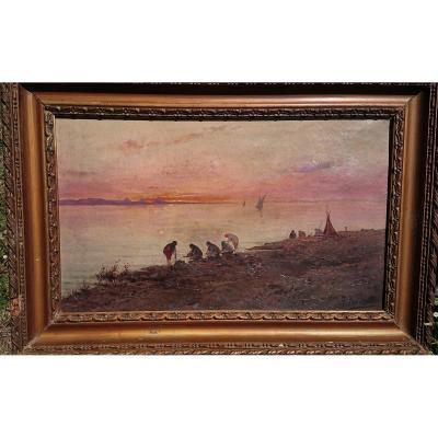 Nicola Forcella (  1868- ?) Lavandières sur les rives du Nil  le soir ,Fin 19eme Italien