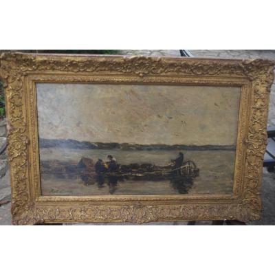 Karl Daubigny (1846 1886). La Barge De Pêcheurs , Huile Sur Bois