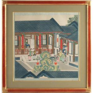 Peinture Sur Soie, Chine, Circa 1850