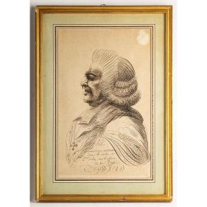 Portrait Caricaturé Calligraphié à l'Encre De Chine Du Cardinal E.C De Loménie De Brienne