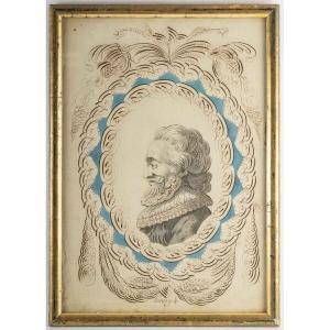 Portrait Calligraphié à l'Encre De Chine Du Roi Henry Iv