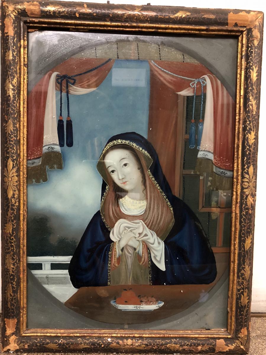 Fixé Sous Verre Représentant la vierge, travail chinois, XVIIIe