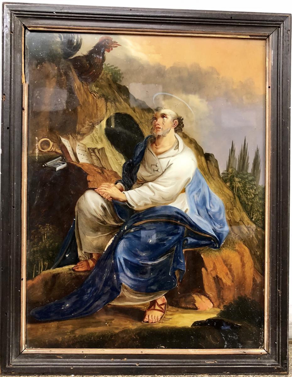 Fixé Sous Verre Représentant Saint Pierre, XVIIIe Siècle