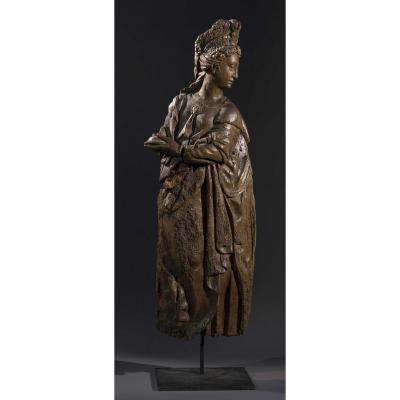 Paire de grandes statues Renaissance - XVIe Siècle - Saintes Femmes