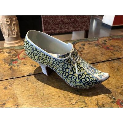 Chaussure XVIIIe En Faïence De Delft