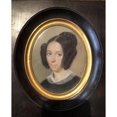 """Portrait De Femme Au Pastel Signé """"deveria"""""""