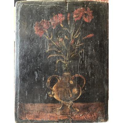 Huile Sur Panneau, Fleurs, Dans Le Goût Du XVIIe Siècle
