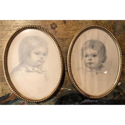 Deux Portraits d'Enfants Au Crayon, Eugène Tournier (1809-1867)