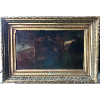 Constant Troyon (1810-1865), Le Taureau, Huile Sur Toile, XIXe
