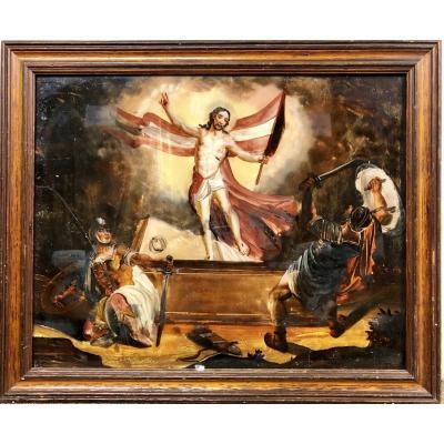 Résurrection Du Christ, Fixé Sous Verre, XVIIIe