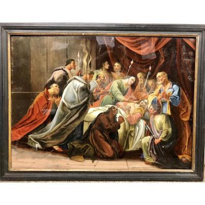 Fixé Sous Verre Représentant La Dormition De La Vierge, XVIIIe