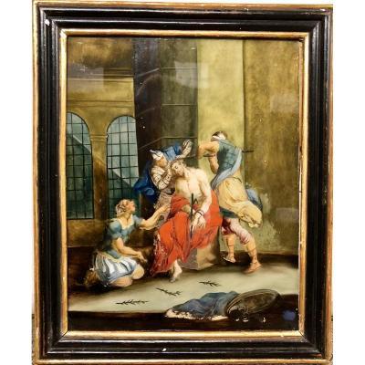 Fixé Sous Verre Représentant Le Couronnement Du Christ, XVIIIe