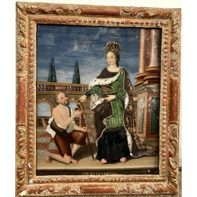 Fixé Sous Verre Représentant Sainte Elizabeth de Hongrie, XVIIIe Siècle
