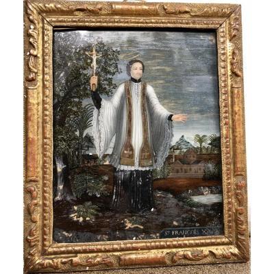 Fixé sous verre représentant Saint François-Xavier, XVIIIe siècle