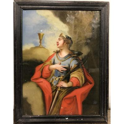 Fixé Sous Verre Représentant Sainte Barbe, XVIIIe Siècle