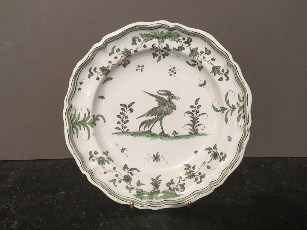 Earthenware Plate Of Moutiers Of 18 Eme Century