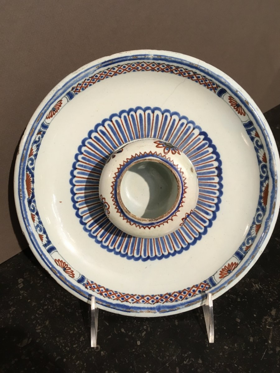 Inkwell Round Earthenware From Rouen XVIII Century