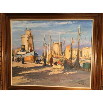 Tableau Le Port De La Rochelle Par Gaston Balande (1880 - 1971 )