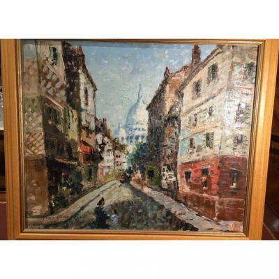 Vue De Paris  Rue St Rustique  De Mério Améglio  (1897 - 1970 )
