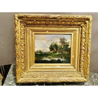 Landscape Painting By Paul Vernon (barbizon School)