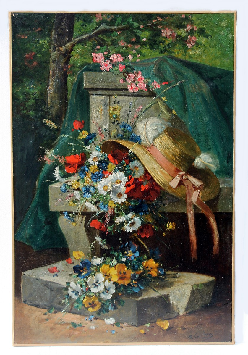 """Oil On Canvas, """"bouquet Of Flowers And Hat"""", Signed Carlier"""