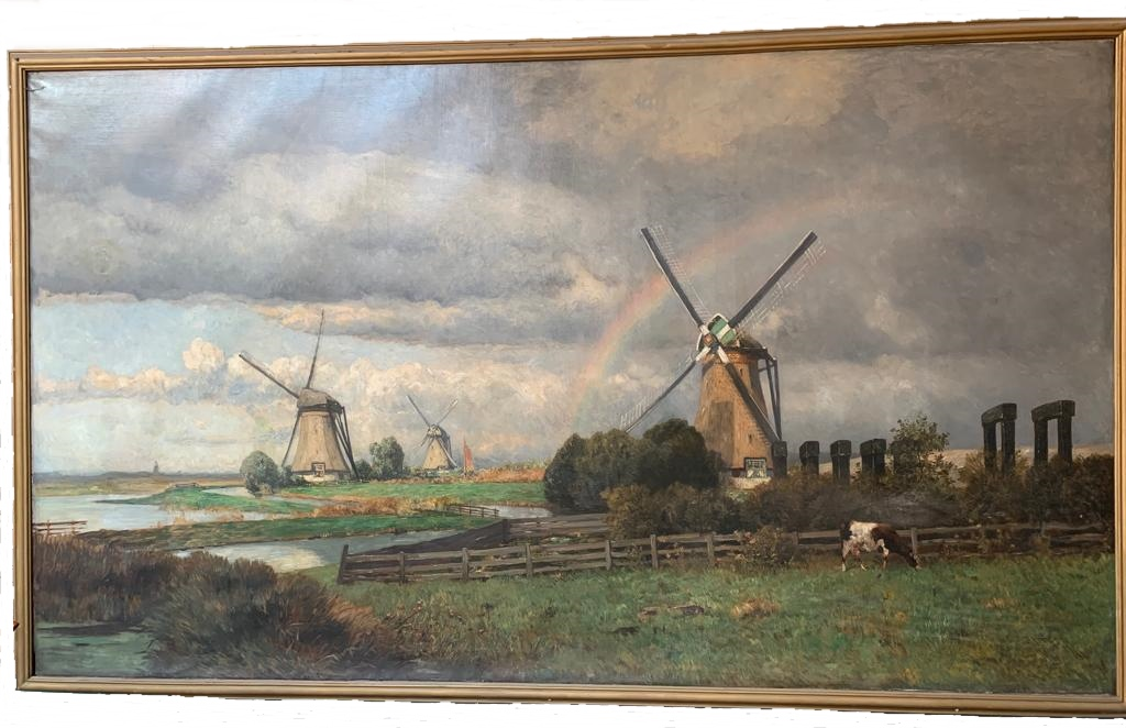 """Large Painting, """"polders"""", Late 19th.c, Oil On Canvas"""