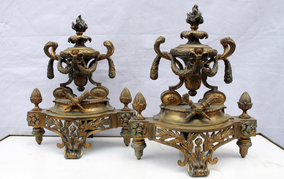 Paire De Chenets En Bronze Doré