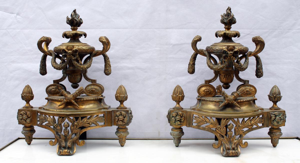 Paire De Chenets En Bronze Doré-photo-2