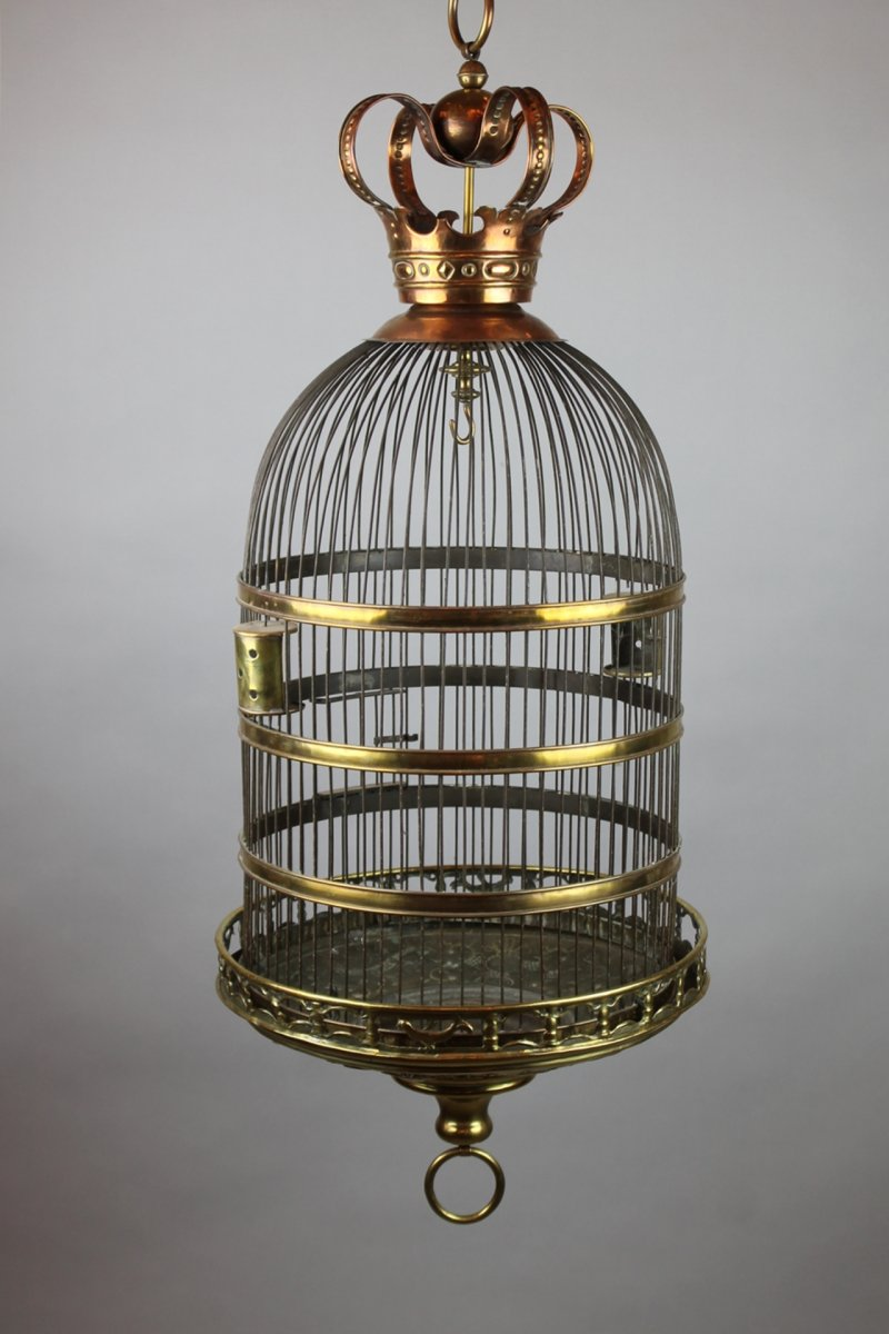 Cage à Oiseaux En Cuivre Et Laiton, 18th