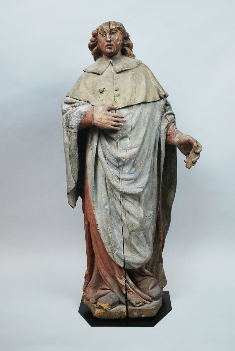 Saint In Polychromed Carved Wood, 16th