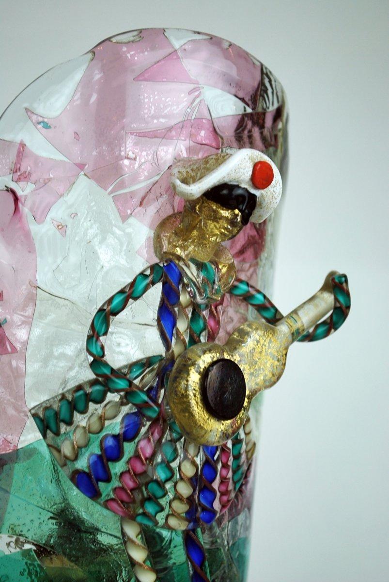 Murano Glass Harlequin Lamp, Attributed To Barbini