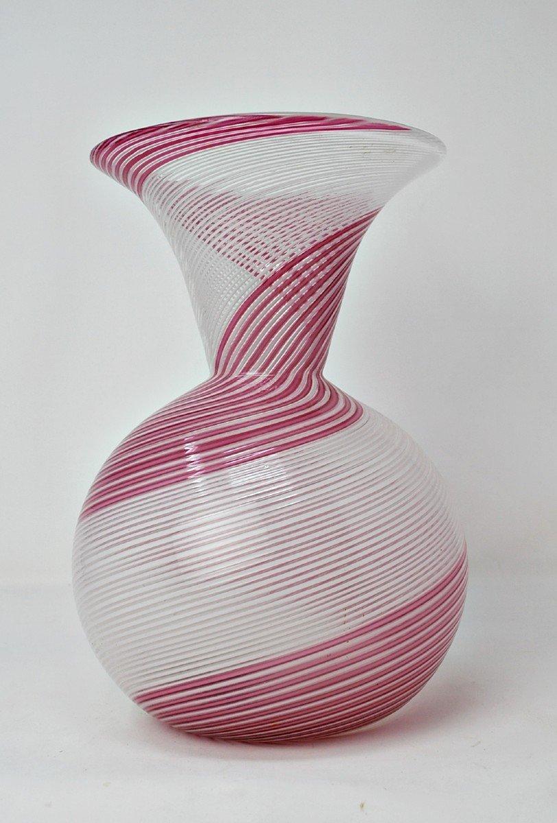 Fasce Bianco Rosa, Vase Par Dino Martens Pour Aureliano Toso