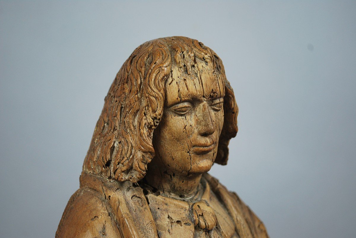 """""""Saint"""" Sculpture en bois 18th-photo-1"""