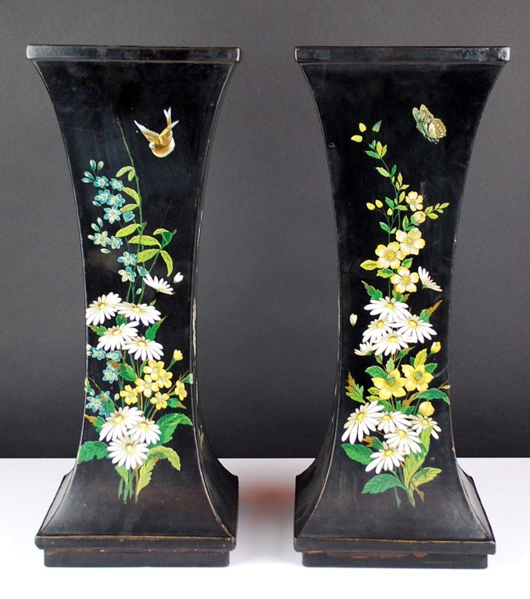Pair Of Paper Mache Vases, 19th-photo-2