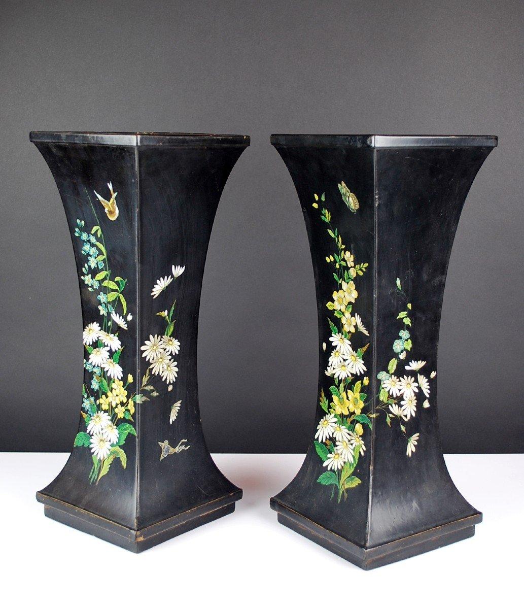Pair Of Paper Mache Vases, 19th-photo-1