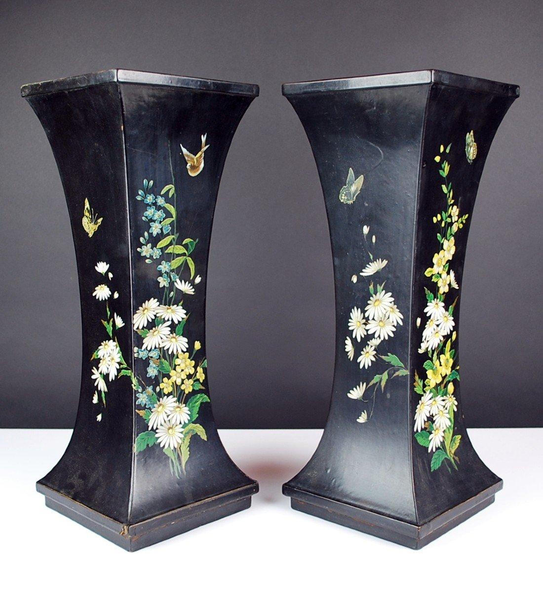 Pair Of Paper Mache Vases, 19th-photo-5