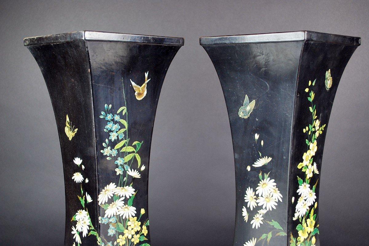 Pair Of Paper Mache Vases, 19th-photo-6
