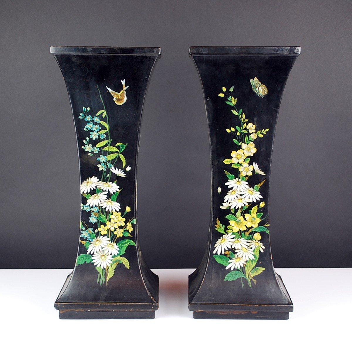 Pair Of Paper Mache Vases, 19th