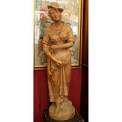 Woman Statue In Terracotta