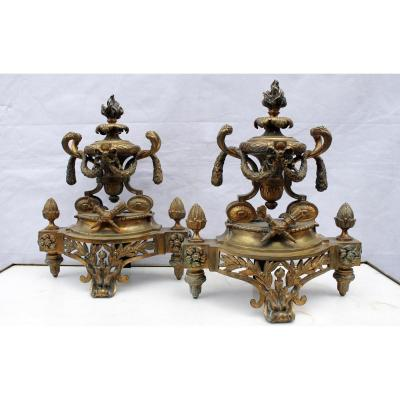 Pair Of Gilt Bronze Andirons