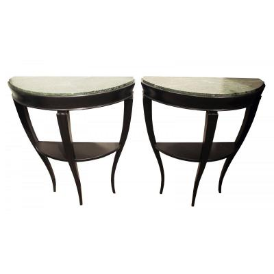 Pair Of Consoles In Blackened Wood And Green Marble, Attributed To Gio Ponti