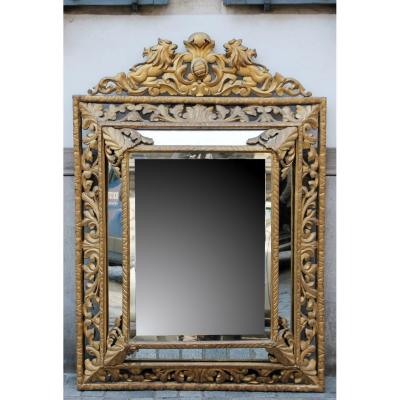 Important Miroir En Bois Sculpté, 19th