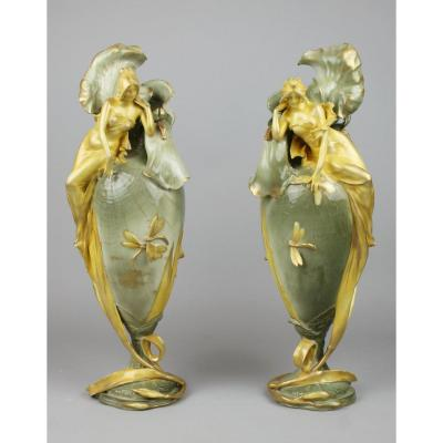 Pair Of Art Nouveau Vases, Amphora